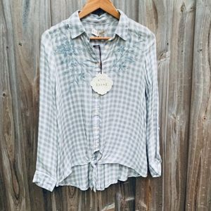 Southern Style Button Down Embroidered Silver